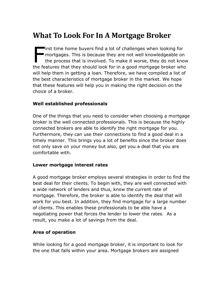what to look for in a mortgage broker irst time n.