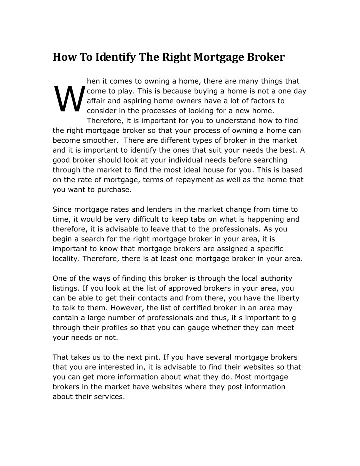 how to identify the right mortgage broker w n.