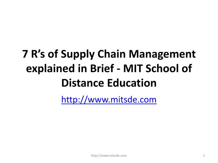 7 r s of supply chain management explained in brief mit school of distance education n.