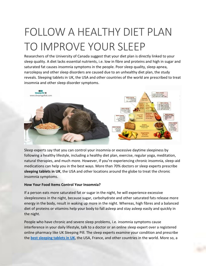 follow a healthy diet plan to improve your sleep n.