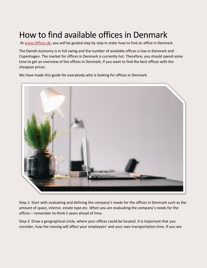 how to find available offices in denmark n.