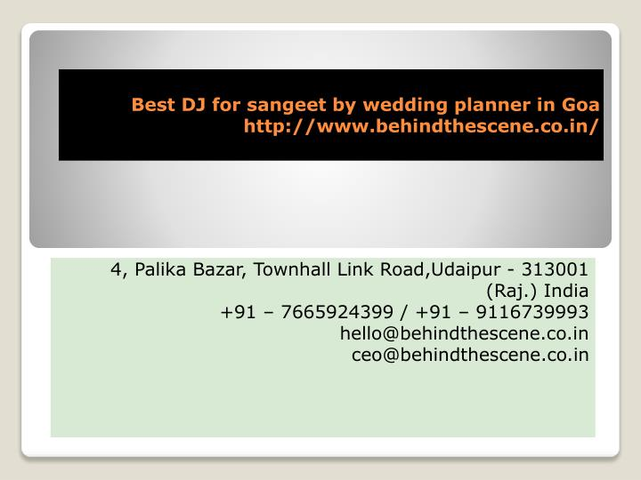 best dj for sangeet by wedding planner in goa http www behindthescene co in n.