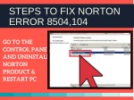 steps to fix norton error 8504 104 1