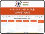 popular lists in our marketplace