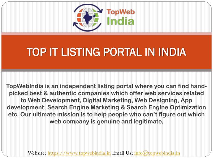 top it listing portal in india n.