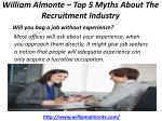 william almonte top 5 myths about the recruitment industry 4