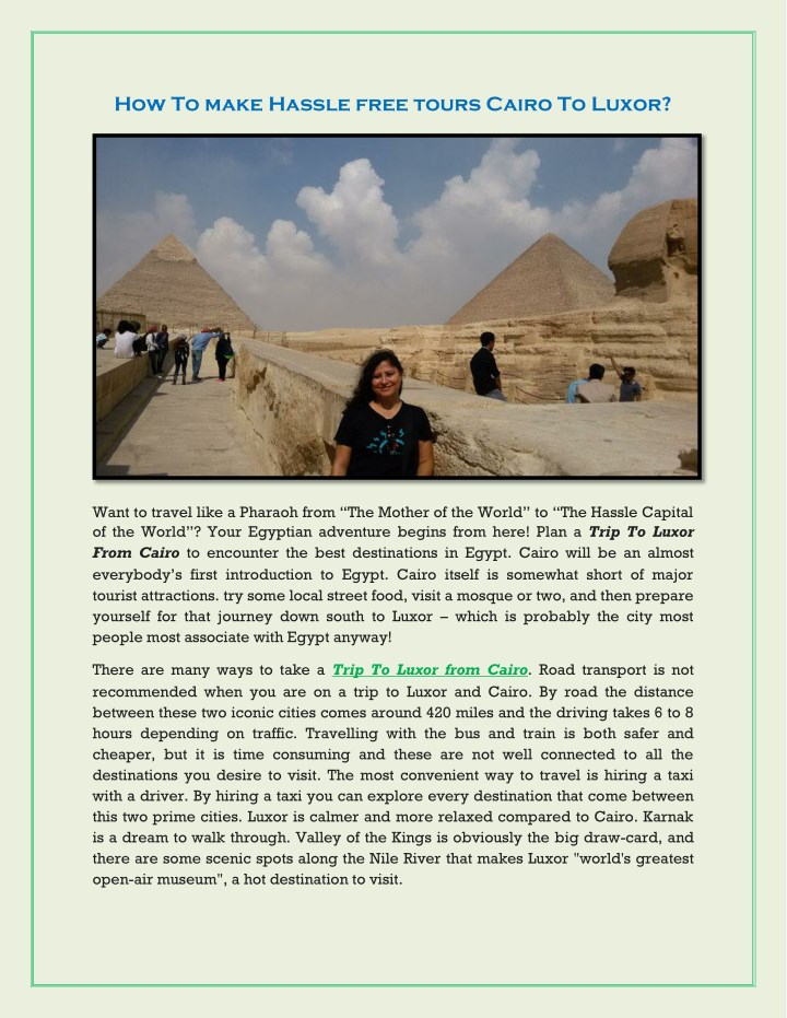 how to make hassle free tours cairo to luxor n.