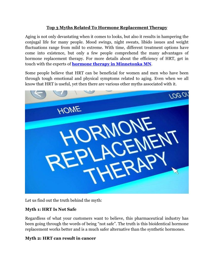 top 3 myths related to hormone replacement therapy n.