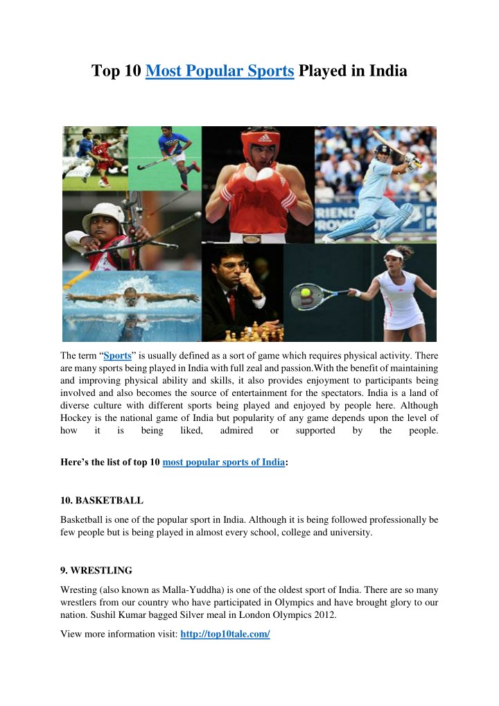 top 10 most popular sports played in india n.
