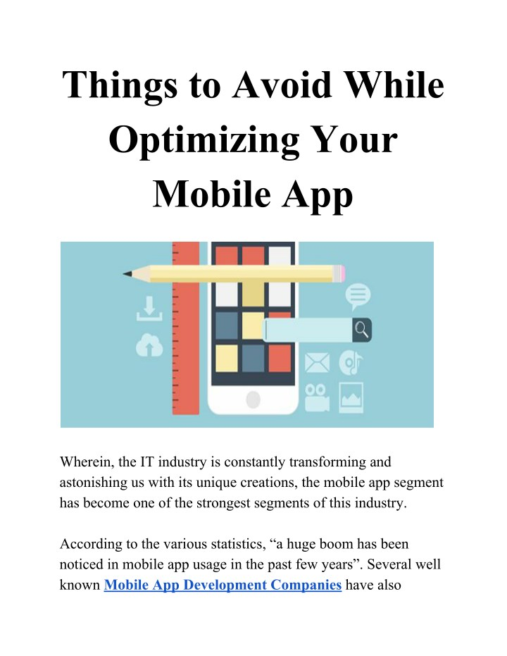 things to avoid while optimizing your mobile app n.