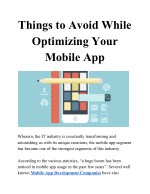 things to avoid while optimizing your mobile app
