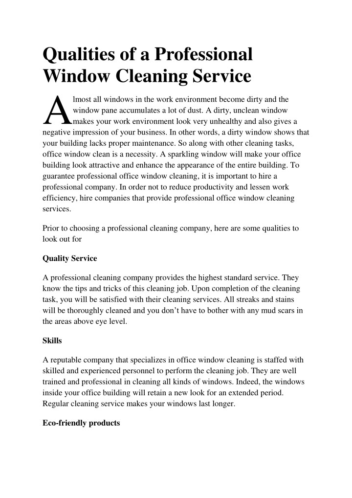 qualities of a professional window cleaning n.