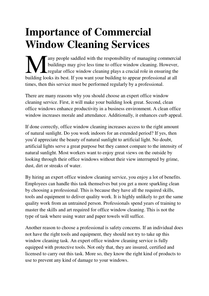 importance of commercial window cleaning services n.
