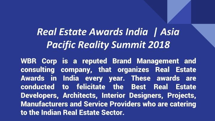 real estate awards india asia pacific reality summit 2018 n.