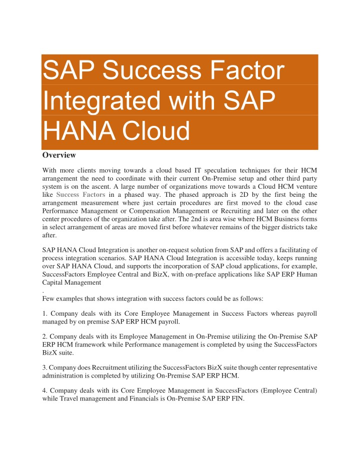 sap success factor integrated with sap hana cloud n.