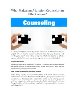 what makes an addiction counselor an effective one