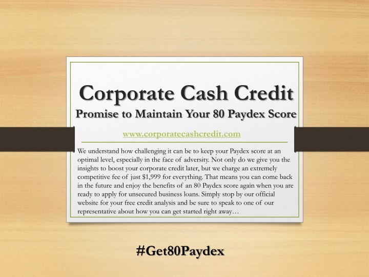 corporate cash credit promise to maintain your n.