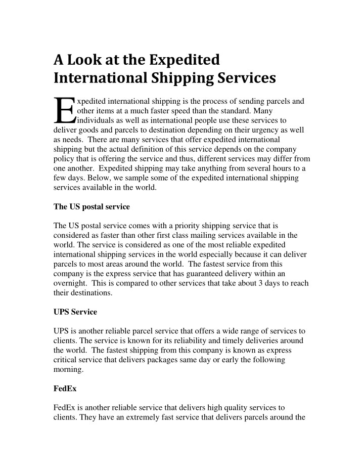 a look at the expedited international shipping n.