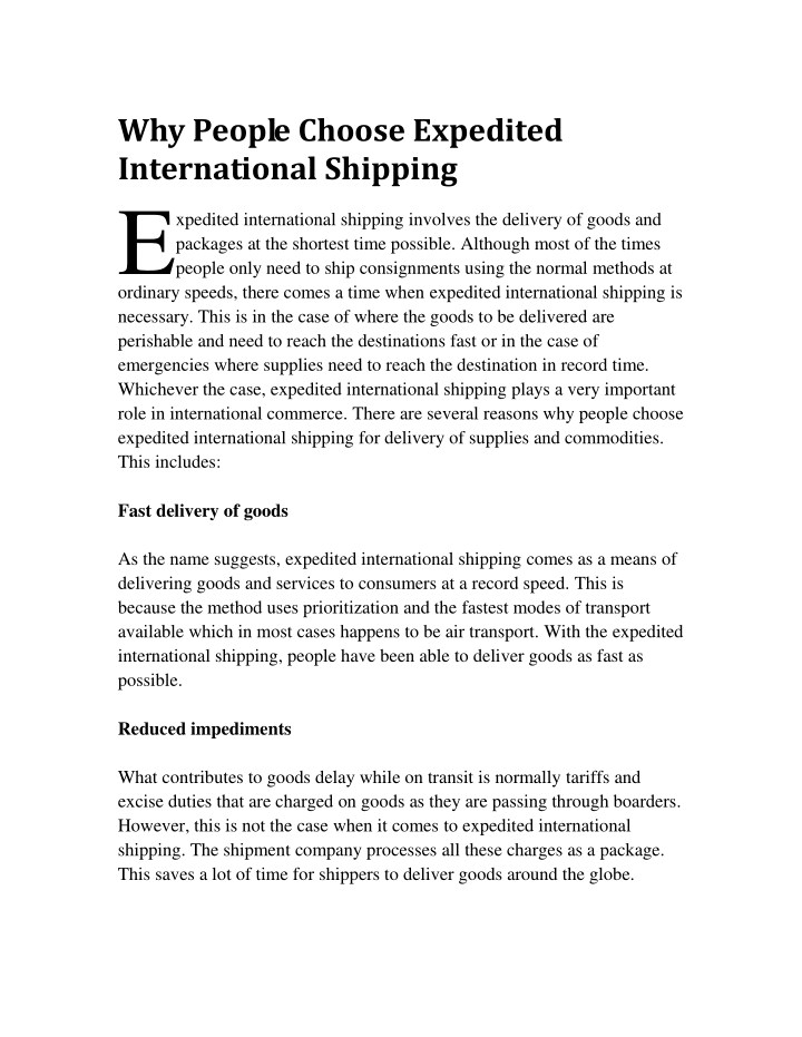 why people choose expedited international n.