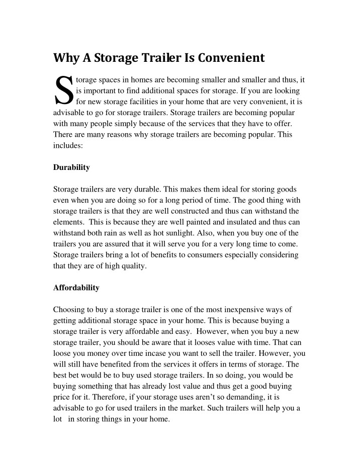 why a storage trailer is convenient torage spaces n.