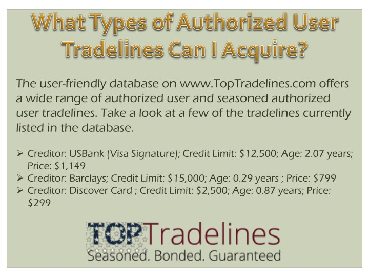 the user friendly database on www toptradelines n.