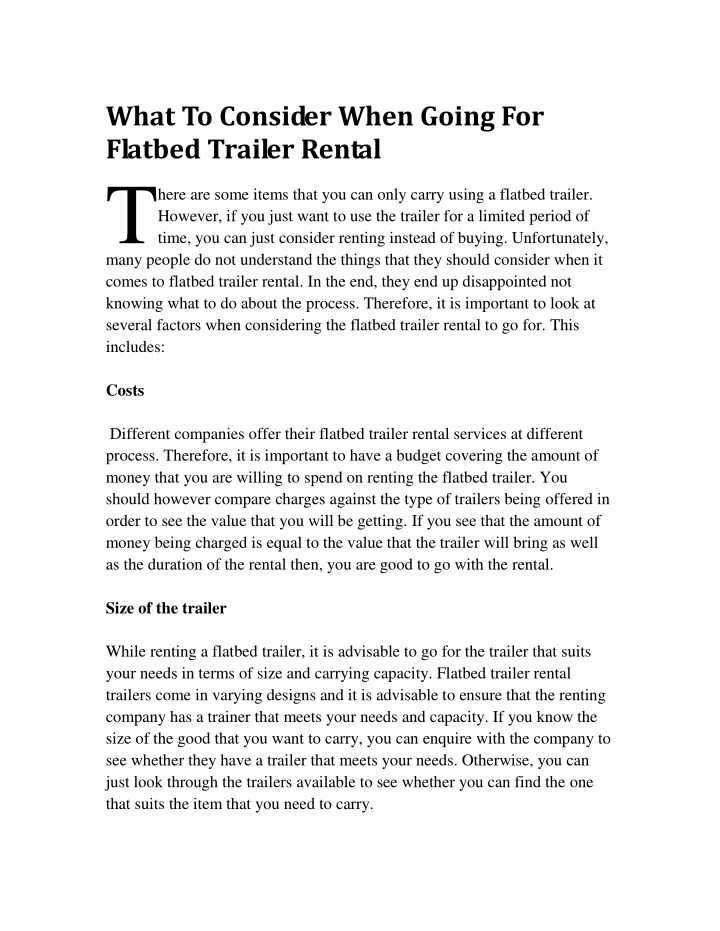 what to consider when going for flatbed trailer n.