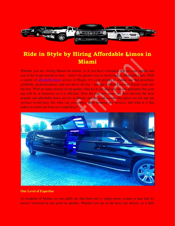 ride in style by hiring affordable limos in miami n.