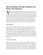 how warehouse storage solutions can better your