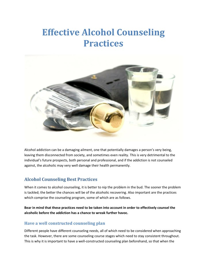 effective alcohol counseling practices n.
