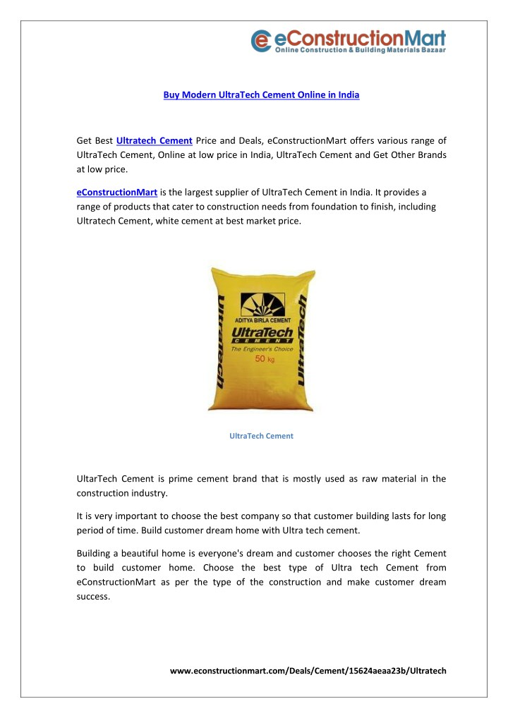 buy modern ultratech cement online in india n.