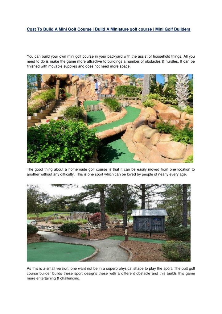 cost to build a mini golf course build n.