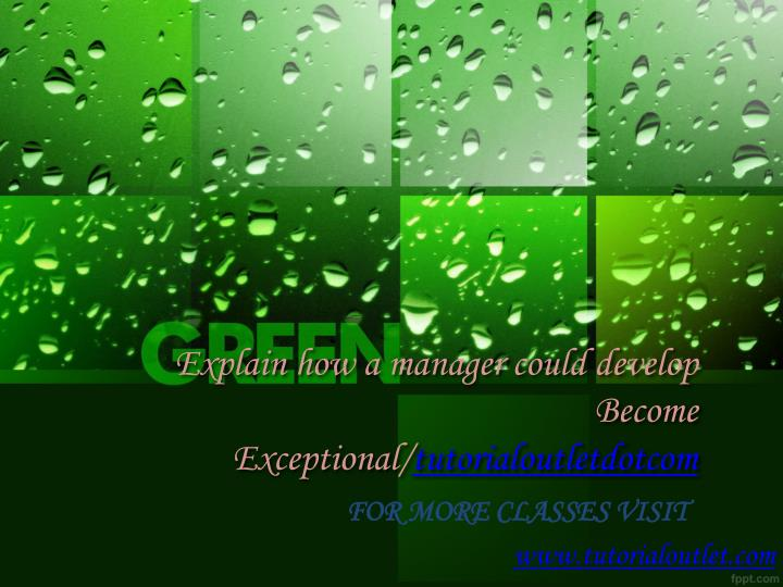 explain how a manager could develop become exceptional tutorialoutletdotcom n.