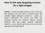 how to get web designing services on a tight budget 4