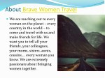 about brave women travel