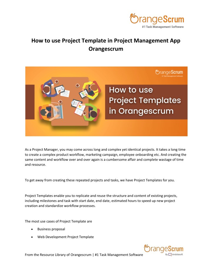 how to use project template in project management n.
