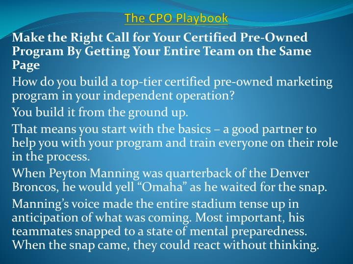 the cpo playbook n.