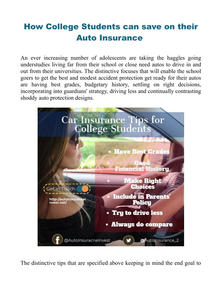 how college students can save on their auto n.
