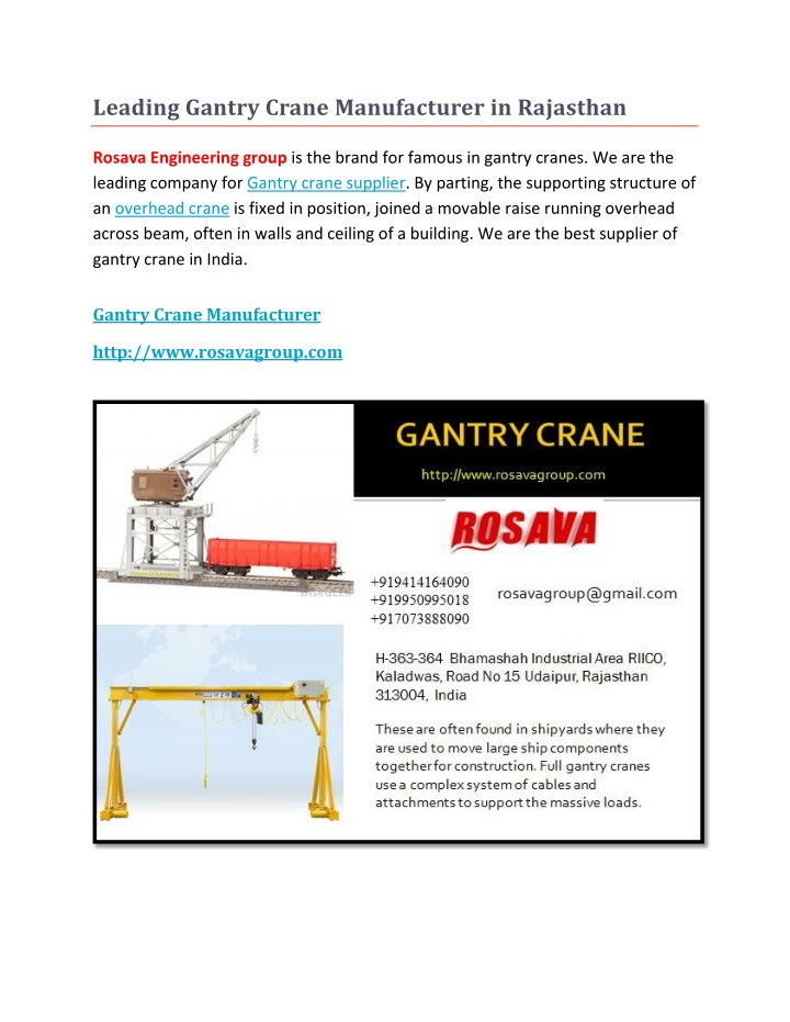 leading gantry crane manufacturer in rajasthan n.