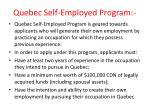 quebec self employed program