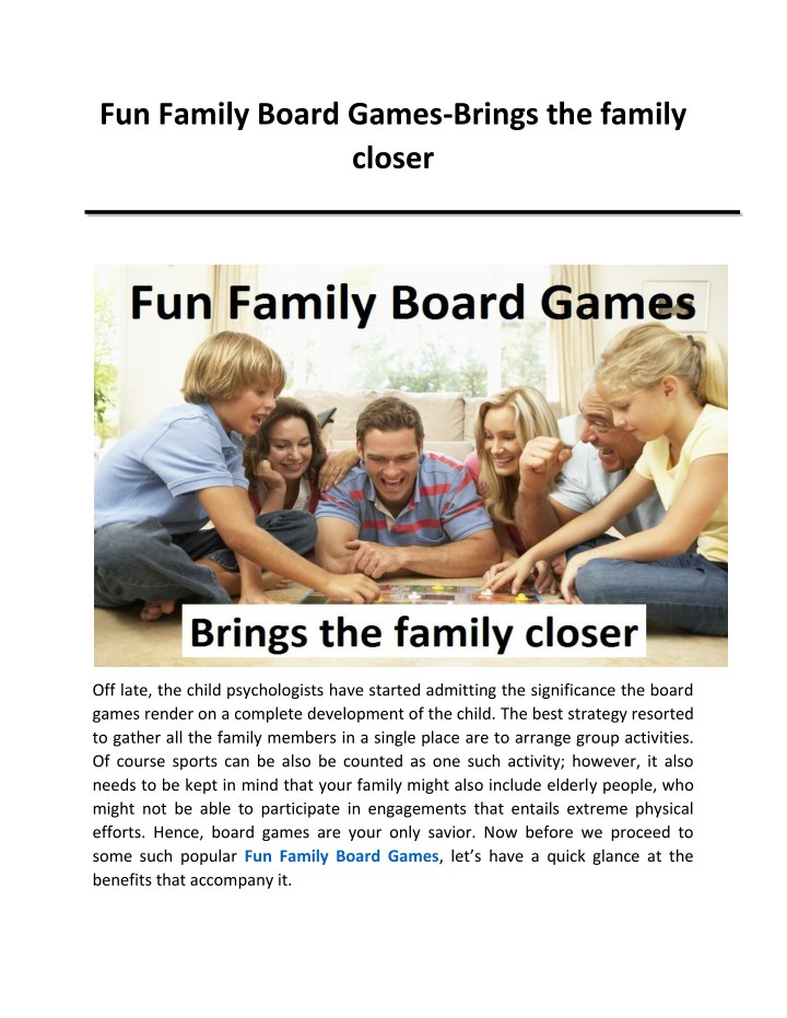 fun family board games brings the family closer n.