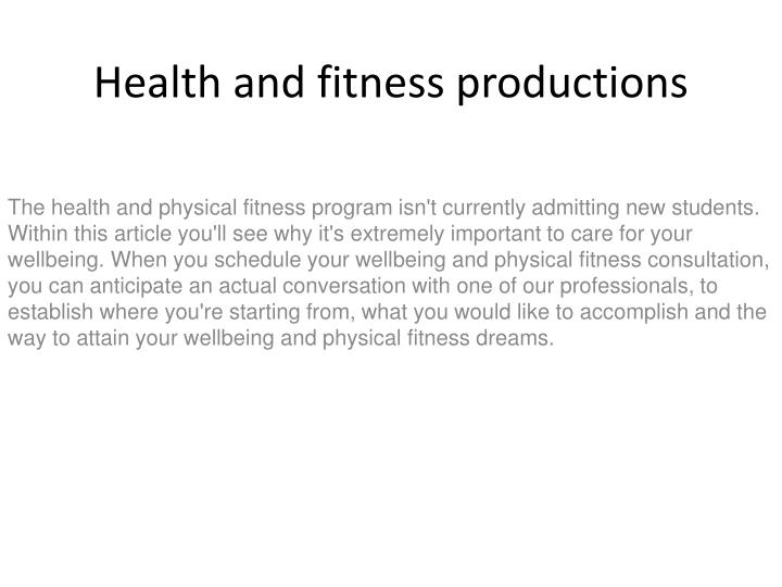 health and fitness productions n.