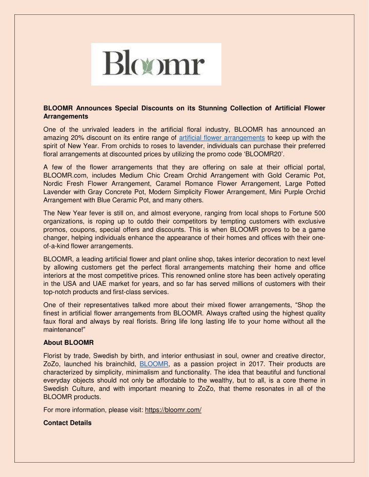 bloomr announces special discounts n.