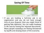 saving of time