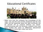 educational certificates
