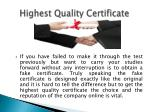 highest quality certificate