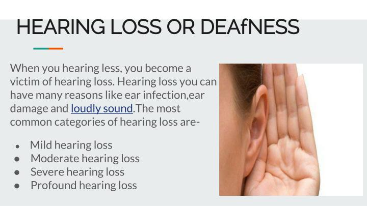 hearing loss or deafness n.