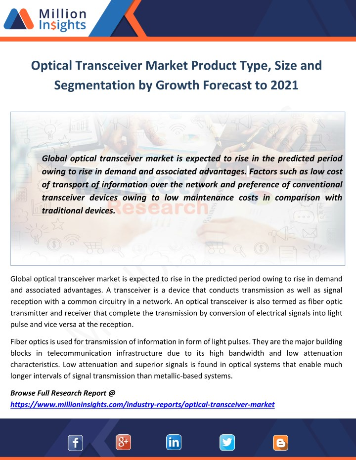 optical transceiver market product type size n.