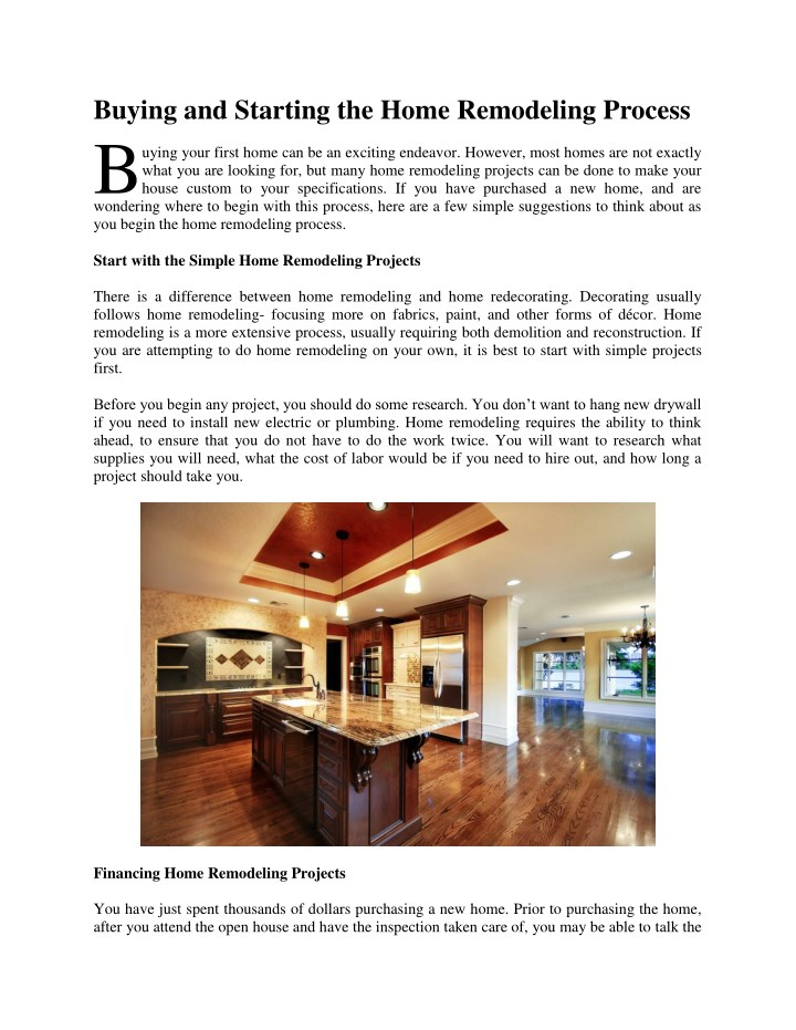 buying and starting the home remodeling process b n.