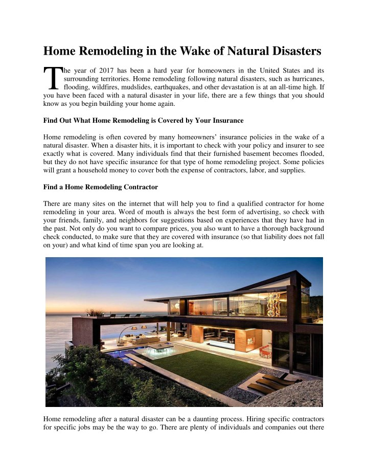 home remodeling in the wake of natural disasters t n.