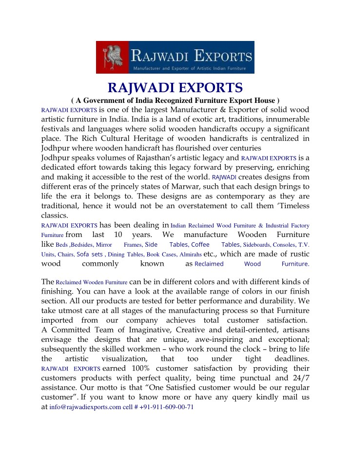 rajwadi exports a government of india recognized n.